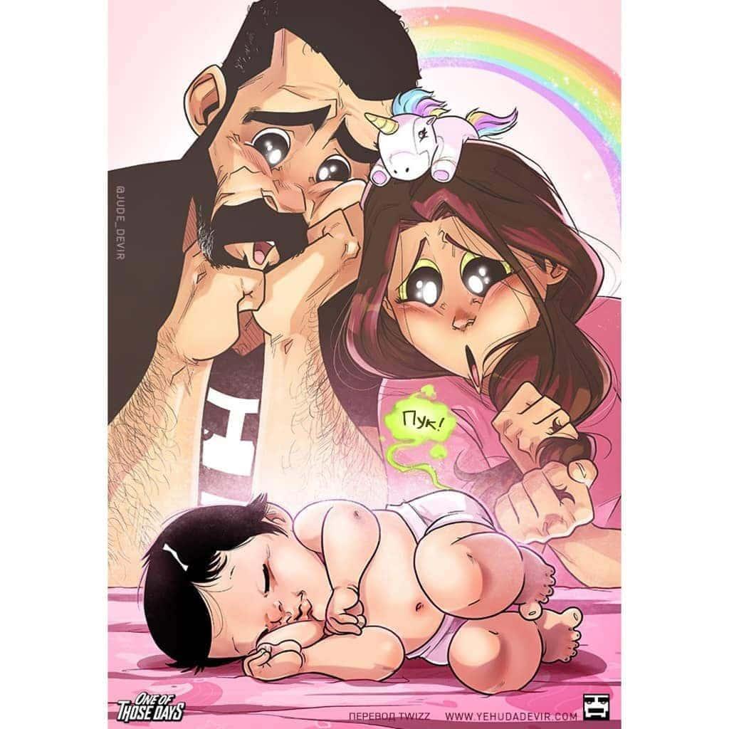 Семейная жизнь в комиксах: жизнь с новорожденным ребенком