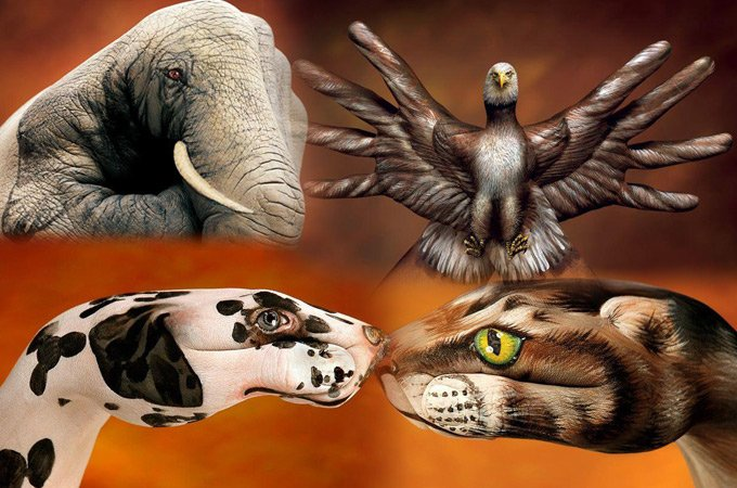 Hand Painting: 21 Unbelievably Vivid and Creative Animal Paintings Hand Painting: 21 Unbelievably Vivid and Creative Animal Paintings