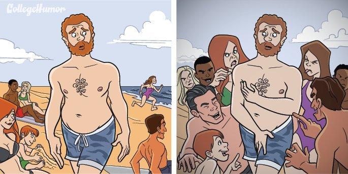 6 комиксов о том, как выглядит мир для застенчивых людей