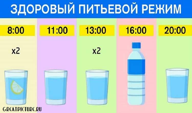 Как правильно пить воду по часам:ешь что хочешь, пей воду по часам