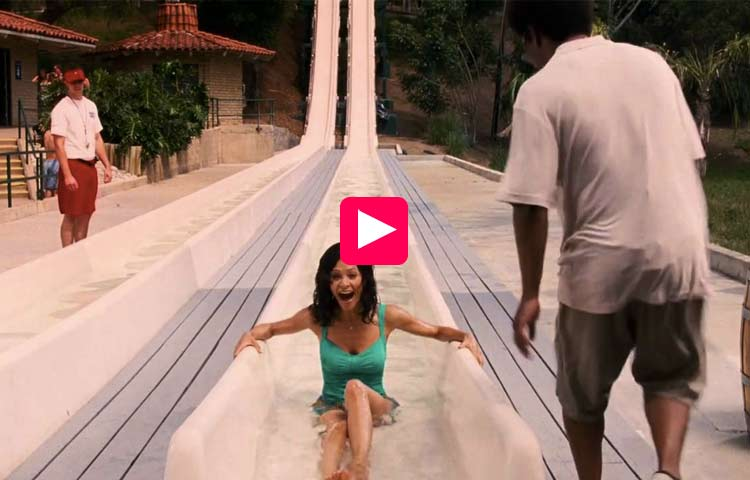 Hot woman decided to slide in the water Park. Regretted it every…